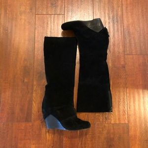 Fergie Black Suede Wedge Boots (size 9)